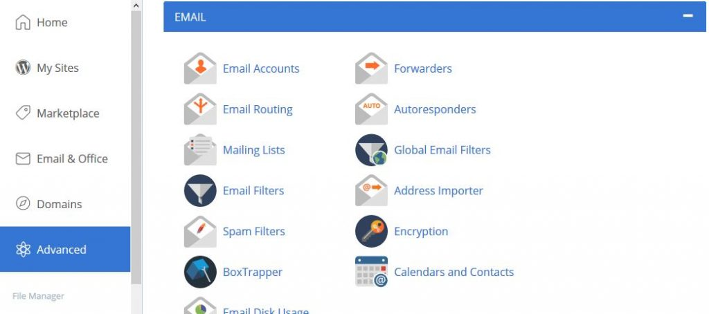 bluehost email options page