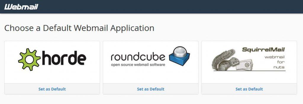 bluehost choose default webmail client page