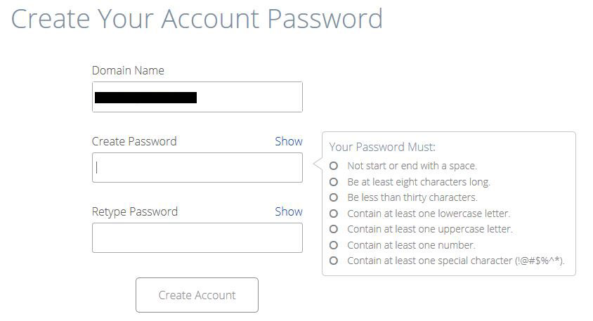 bluehost create account password page