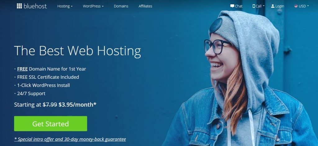 bluehost get started page