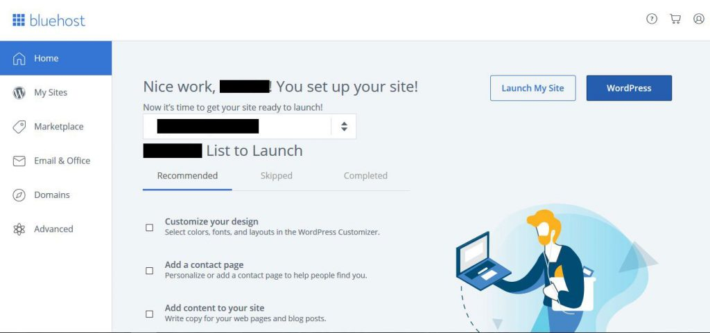 bluehost wordpress website setup options page