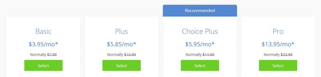 bluehost options pricing table