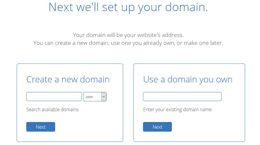 bluehost domain option page