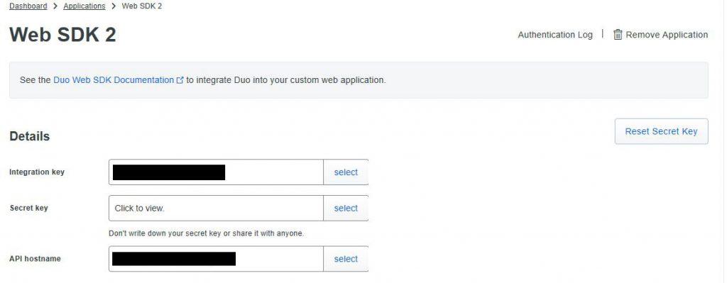 Screenshot of duo web sdk 2 keys list