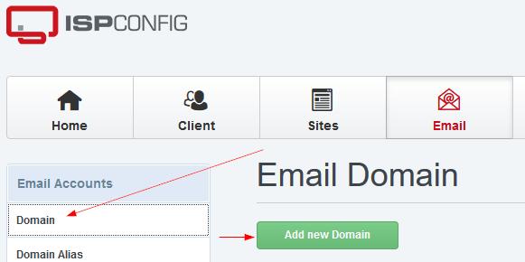 ISPConfig Add Email Domain