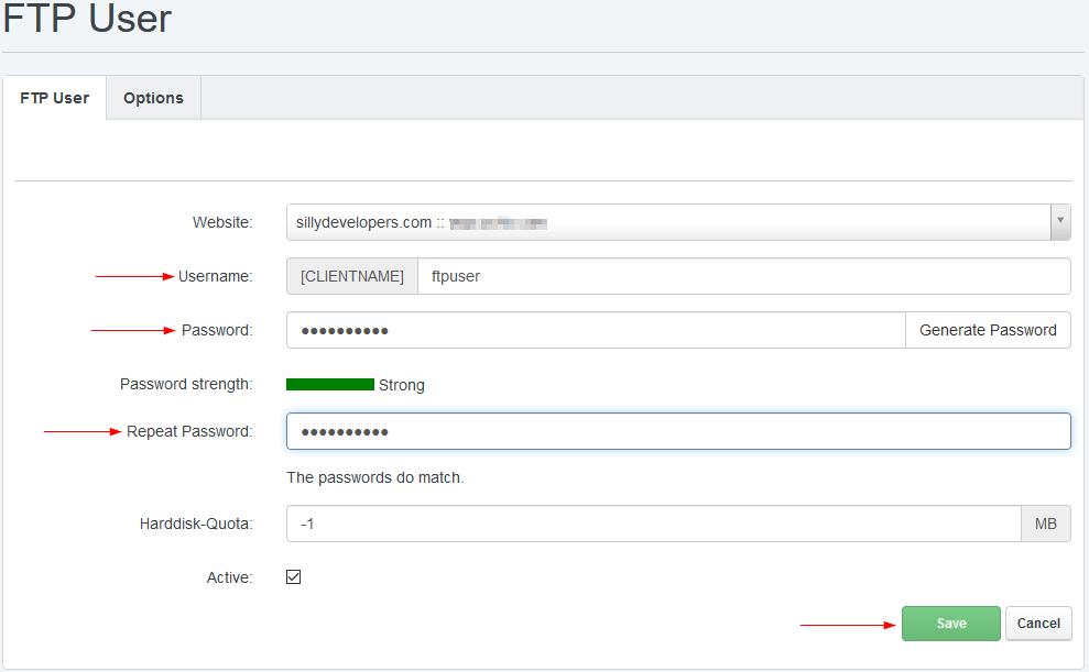 ISPConfig Add FTP Account
