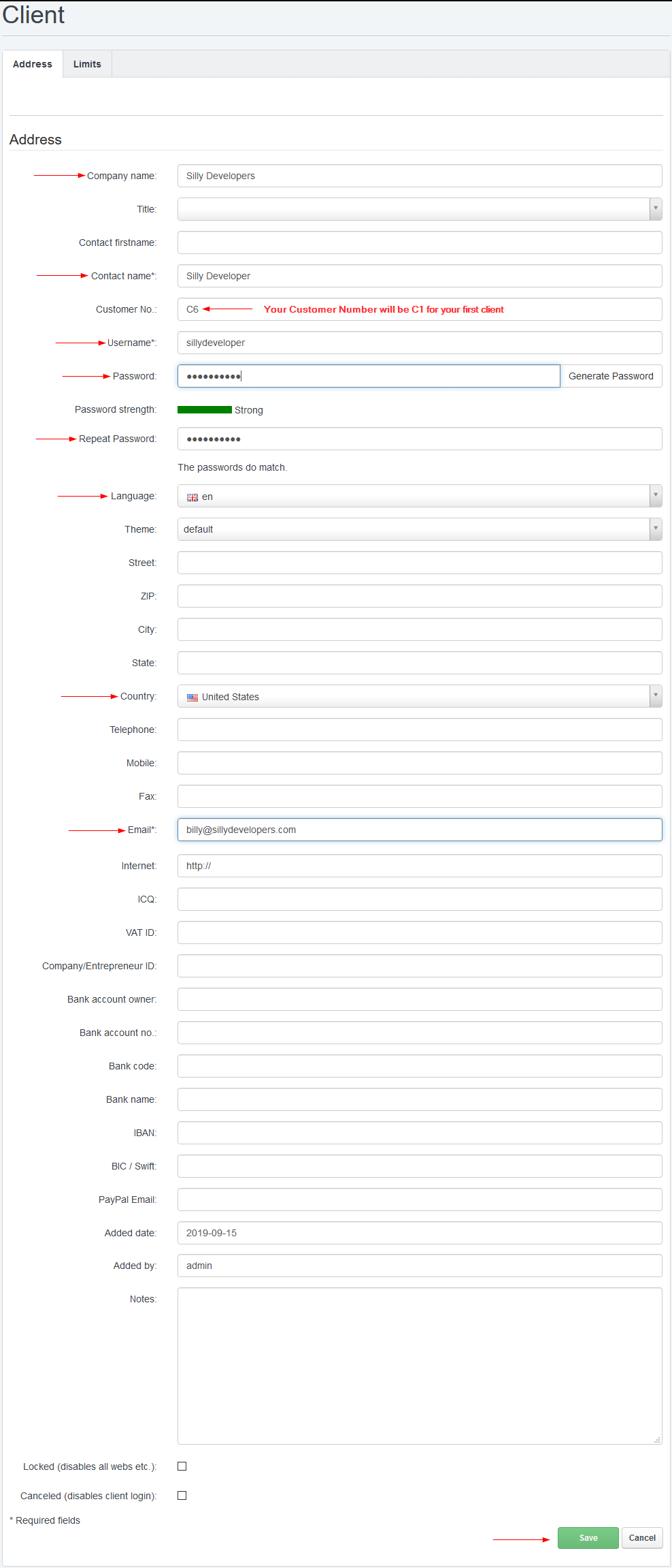 ISPConfig Add New Client Form