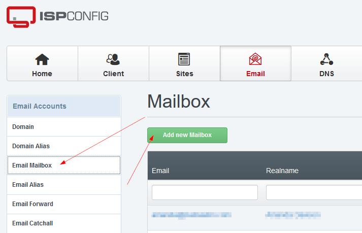 ISPConfig Add Email Account