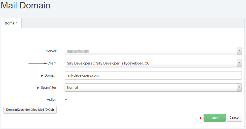 ISPConfig Fill out Email Domain Form