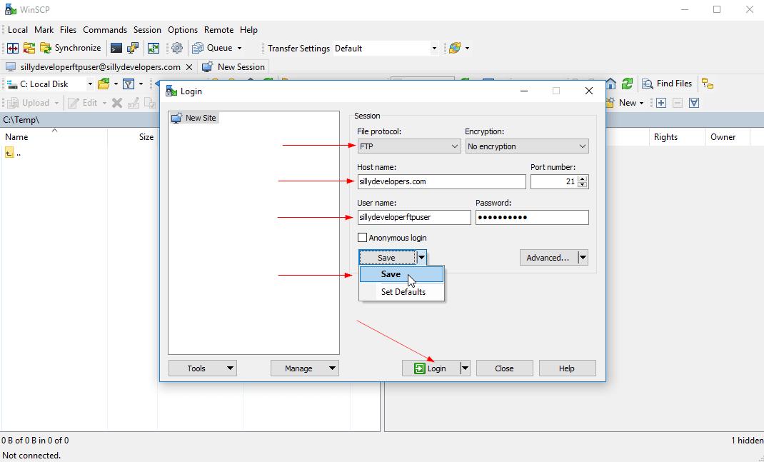 WinSCP FTP Account Setup